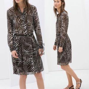 Zara brown palm tree dress